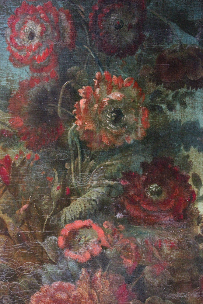 A Good Pair of Large Continental School c.1830 Oils on Canvas of Classical Urns & Flowers