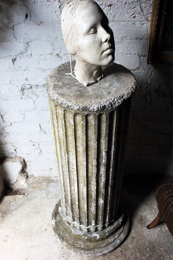 An Attractive Early 20thC Neo-Classical Composition Stone Fluted Pedestal Column