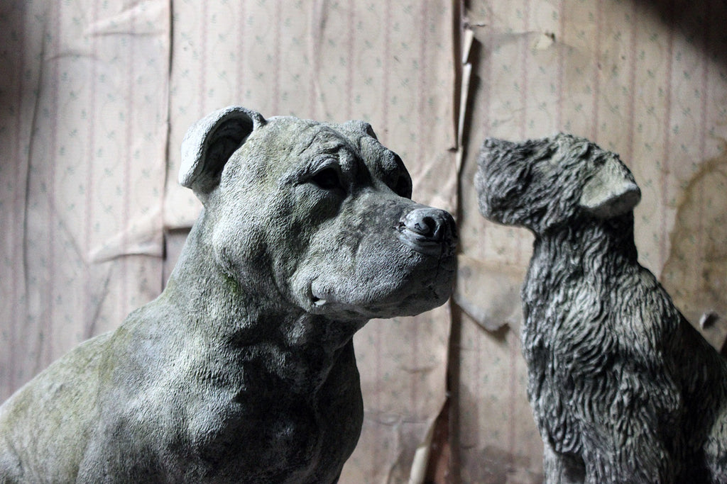 A Mid-20thC Cast Composition Stone Staffordshire Bull Mastiff
