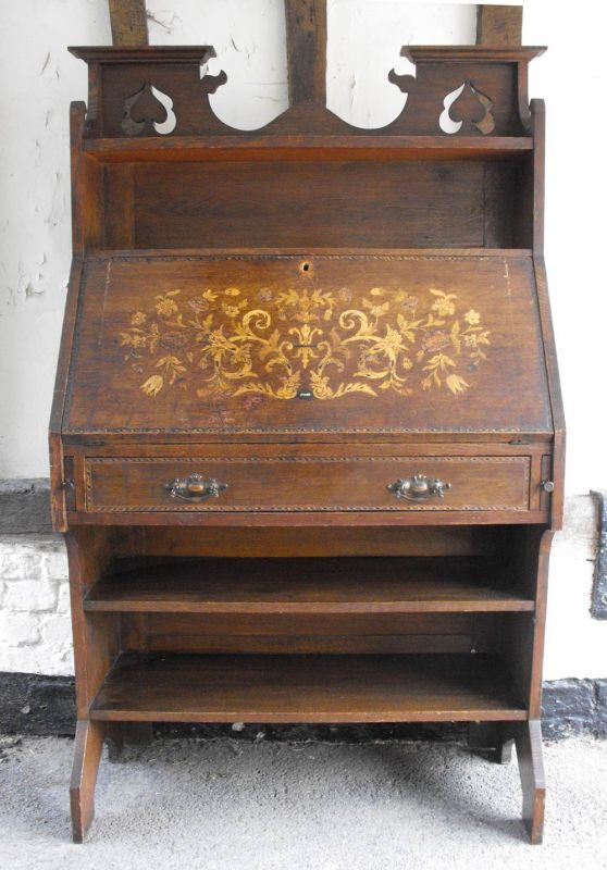 An Arts & Crafts Oak Marquetry Inlaid Bureau Bookcase