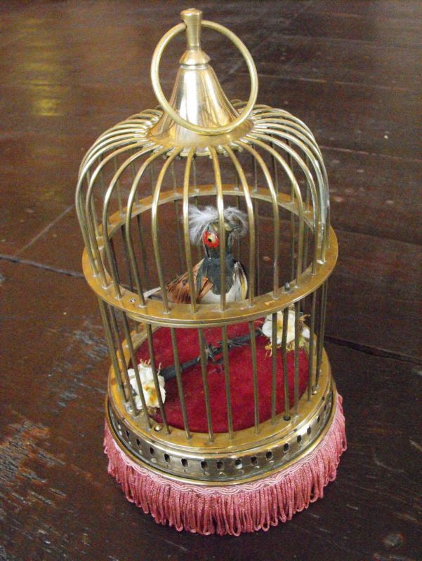 A Singing Bird Automaton In A Brass Cage