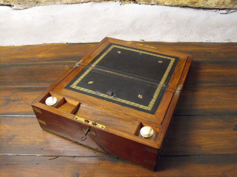 A Victorian Brass Bound Mahogany Writing Slope