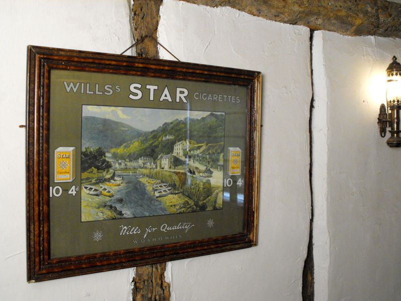An Original Vintage 'Will's Star Cigarettes' Advertising Poster in its Original Wooden Frame