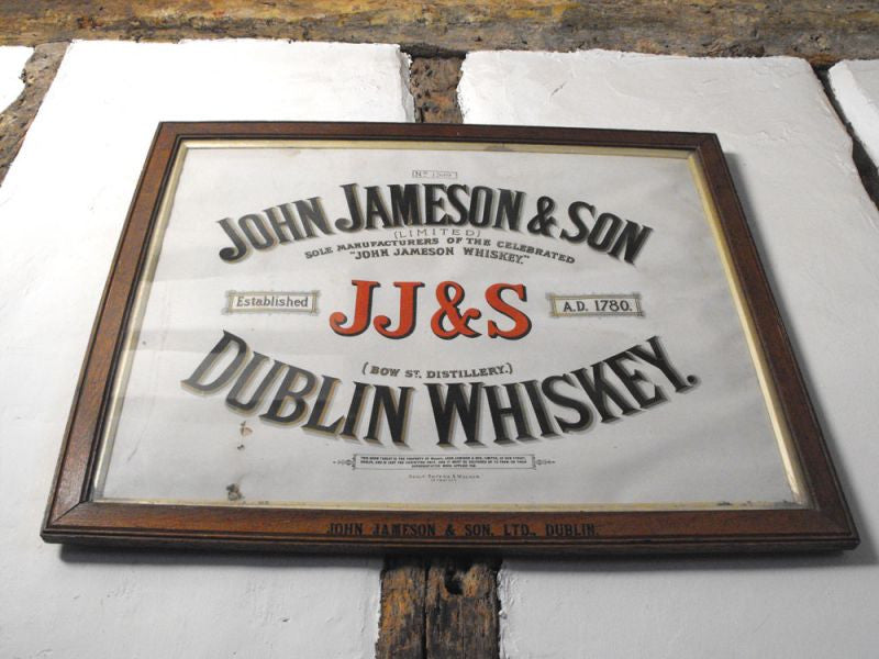 An Early 20thC Show Tablet for Jameson's Whiskey, in Original Frame