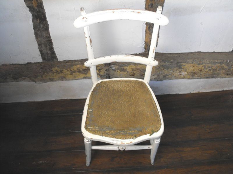 A Painted Victorian Beech Wood Bedroom Chair with Rear Sabre Legs