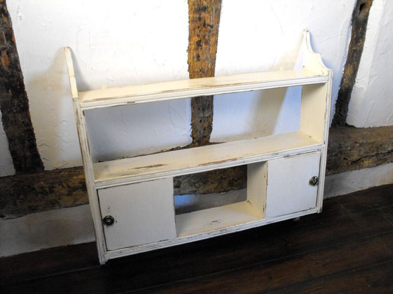 A Painted Set of Vintage 1940's Oak Hanging Shelves Having Two Cupboards