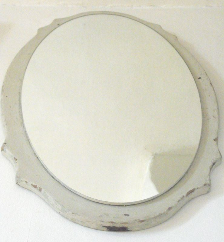 A Graceful Painted 1950s Oval Mirror