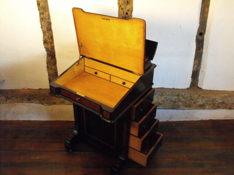 A Quality Victorian Ebonised and Marquetry Inlaid Davenport