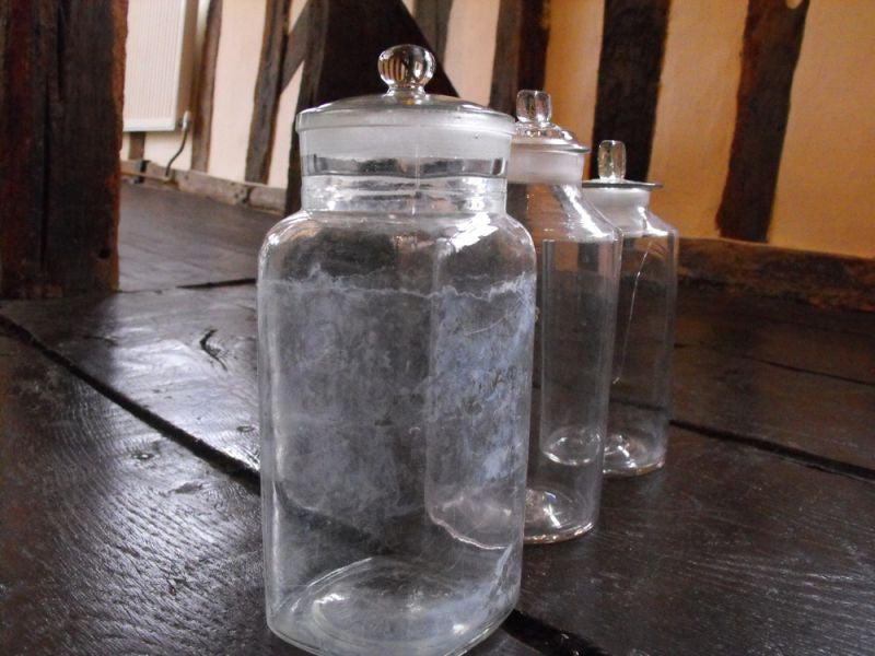 Three Late 19thC Clear Glass Apothecary Bottles