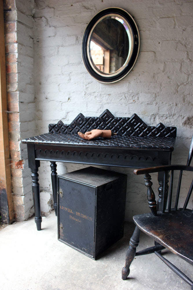 A Very Unusual Victorian Ebonised Pine Hall Table c.1870