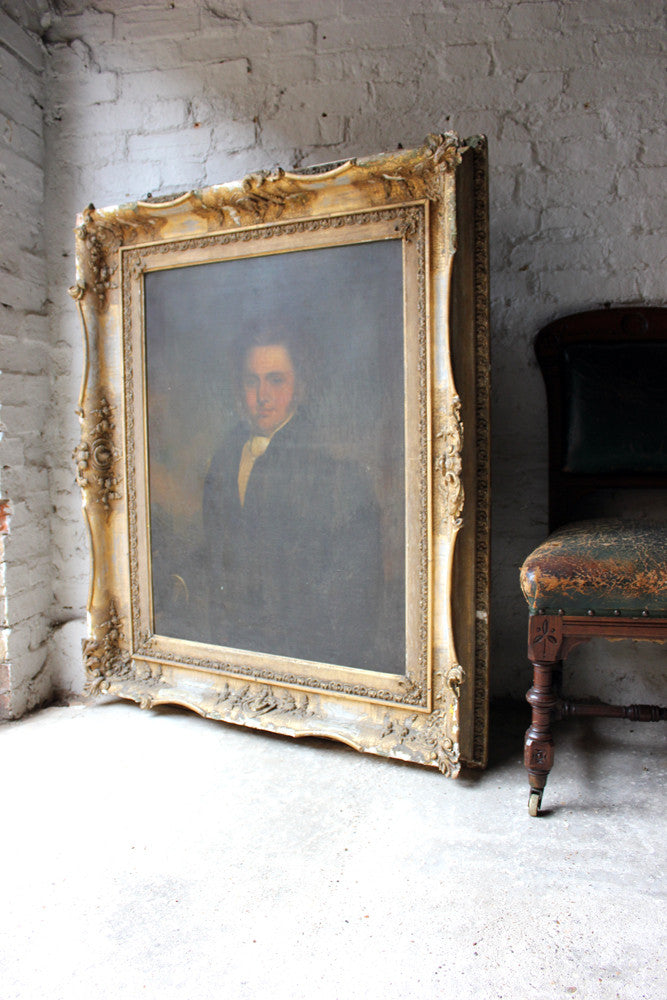 A Very Large c.1830 Gilt Framed English Provincial School Oil on Canvas Portrait of a Gentleman