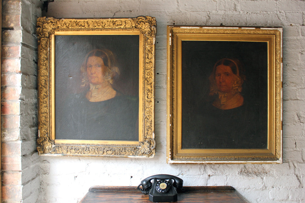 An Unusual Repeated Pair of c.1840 English School Provincial Oil on Canvas Portraits of a Lady