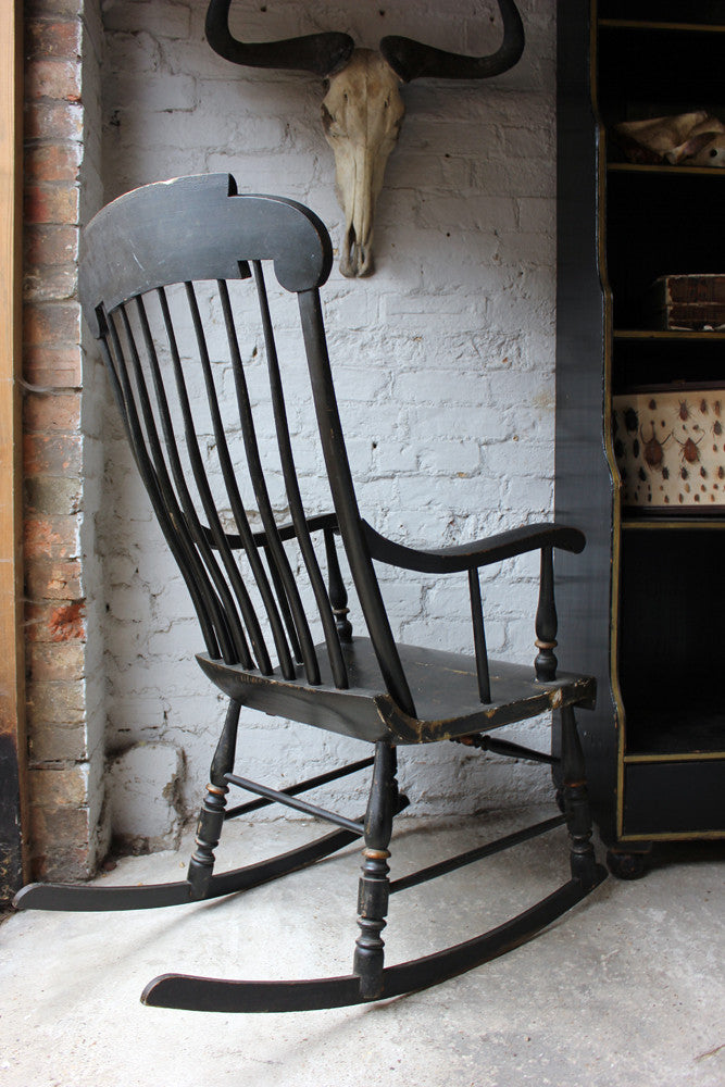 An American Ebonised & Gilt Decorated c.1840 'Boston Rocker' Armchair