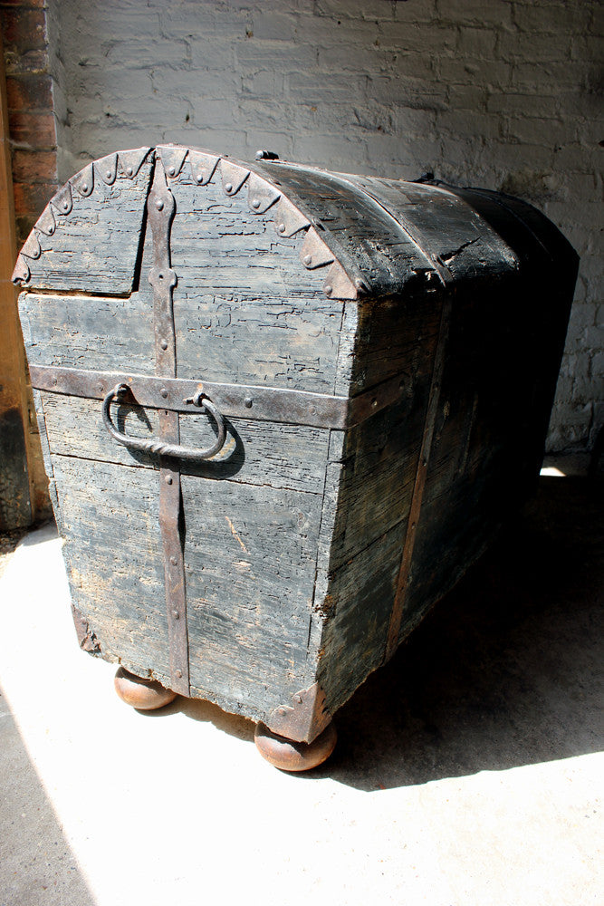 A Wonderful Swedish c.1780 Stained Pine & Iron-Bound Dome Top Trunk