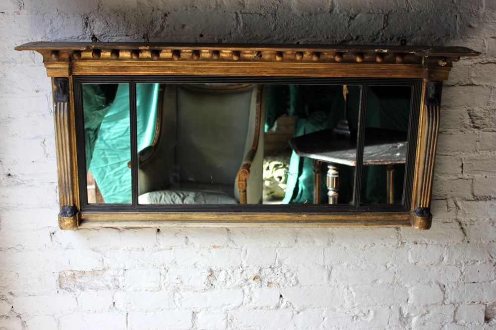 A Fine Regency Period Gilt Gesso & Ebonised Egyptian Revival Overmantle Mirror c.1810