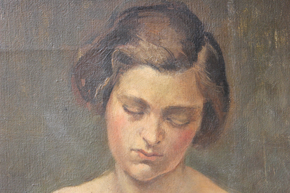 A Good 1928 British School Oil on Canvas; Female Nude Study by Henry Southgate Sands RBSA (1900-1971)