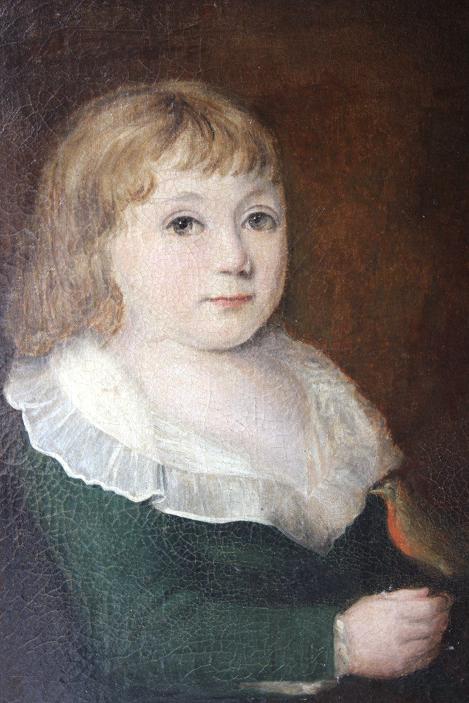 A Fine c.1760-90 English Provincial School Portrait of a Young Girl with a Robin