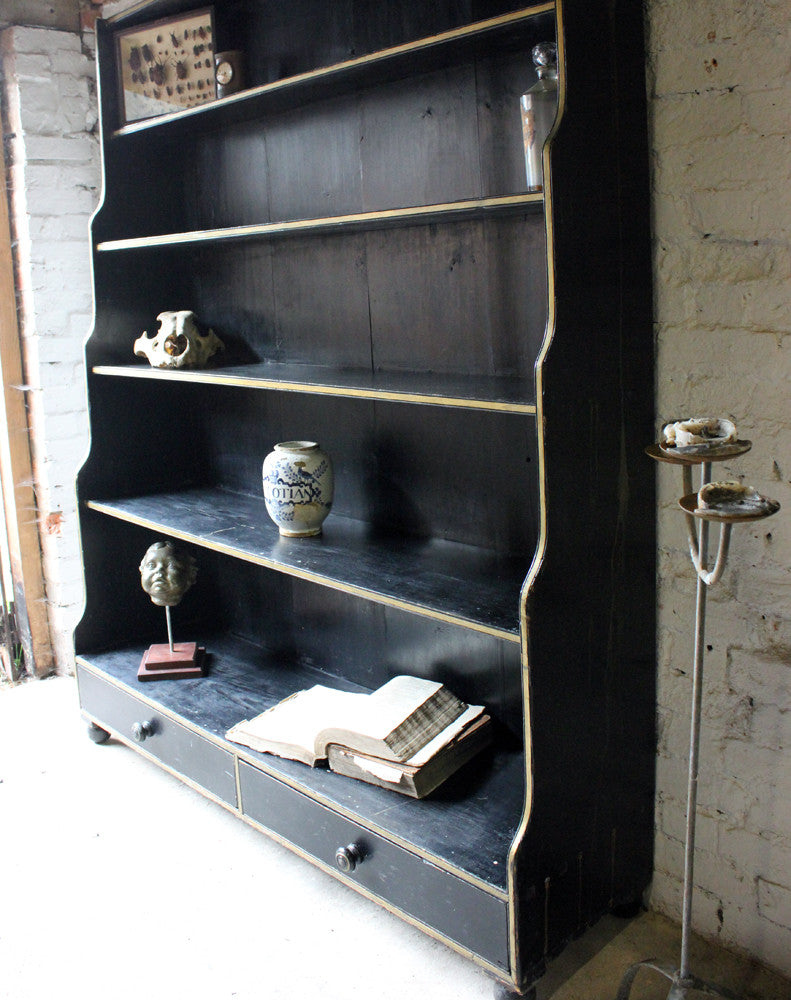 A Wonderful Large Regency Period Parcel Gilt & Black Painted Pine Waterfall Bookcase