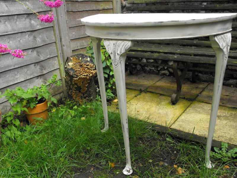 A Chic, Painted Vintage 1950's Demi-Lune Hall Table