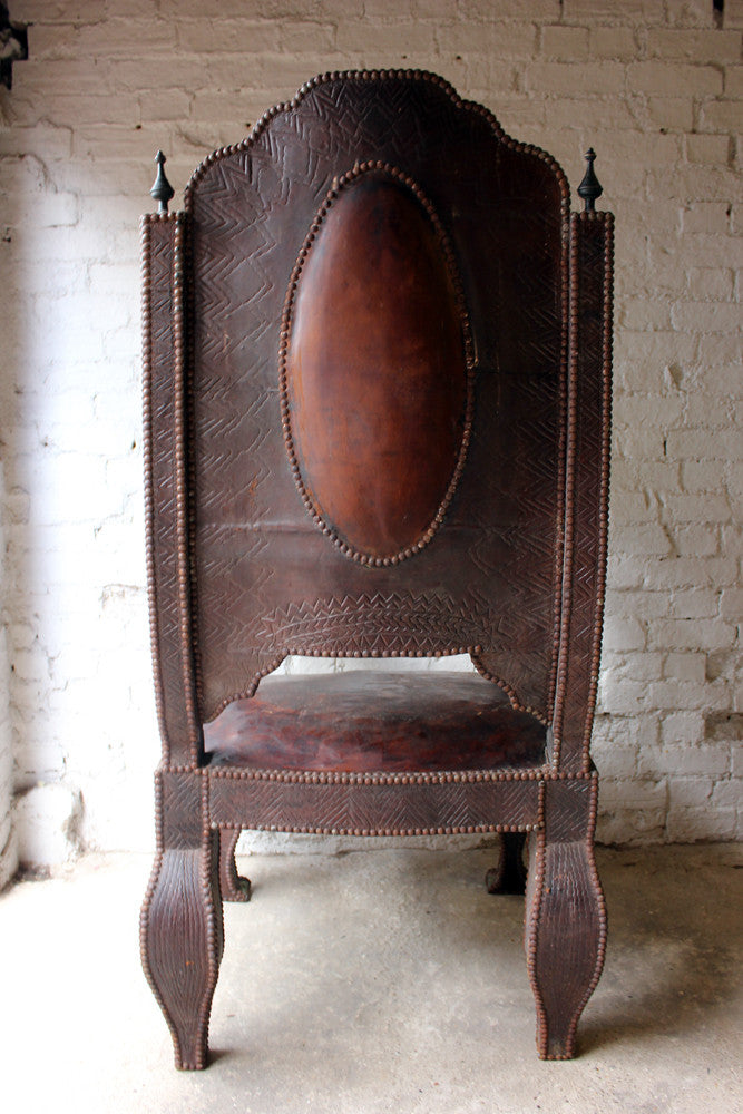 A Magnificent c.1900 Moroccan Studded Brown Leather Throne Chair