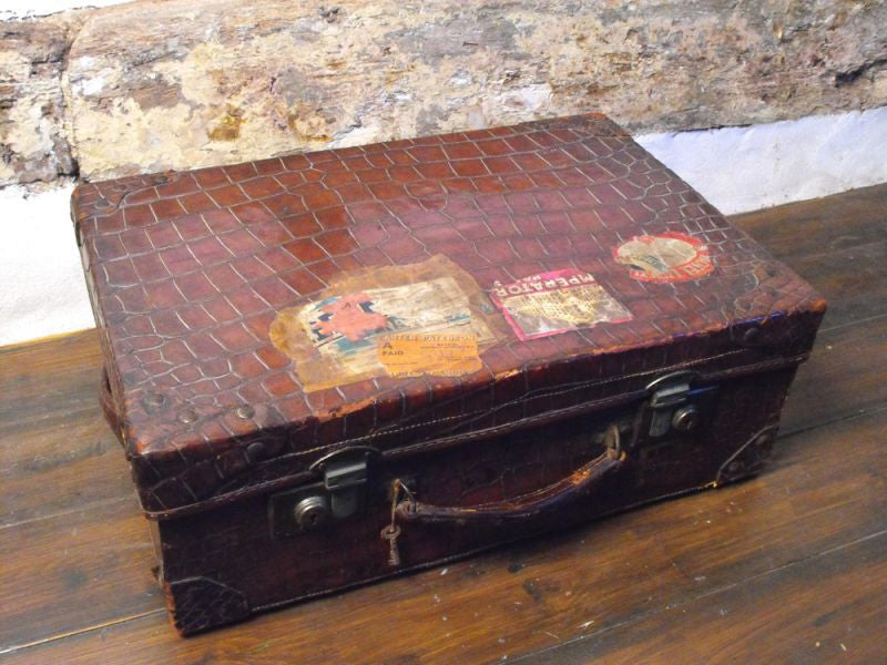 A Charming Crocodile Skin & Silk Lined Travelling Suitcase