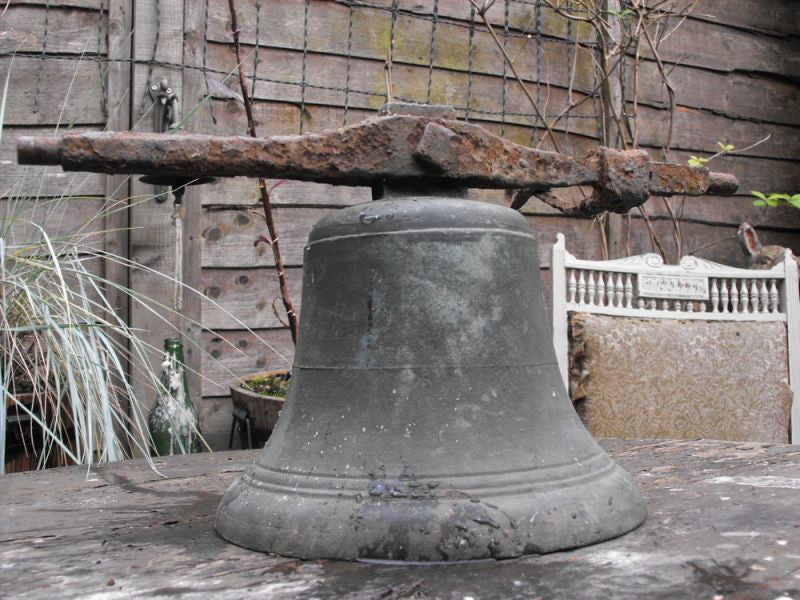 An Evocative 19thC Bronze School Bell with Wrought Iron Axle & Swing Handle