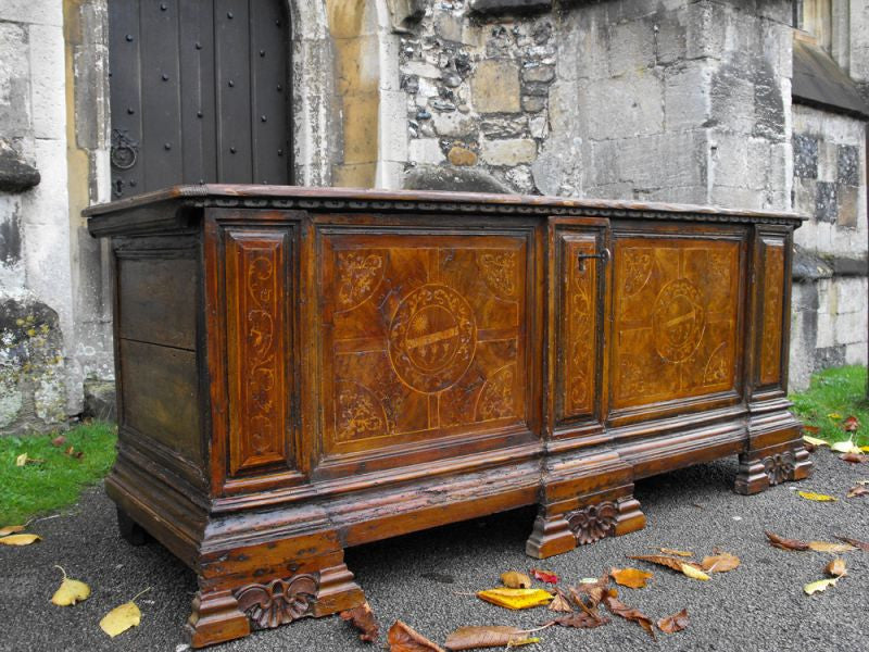 A Late 17thC North Italian Walnut & Marquetry Inlaid Cassone