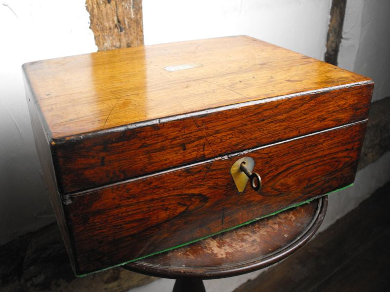 A Victorian Rosewood Box with Mother of Pearl Inlay