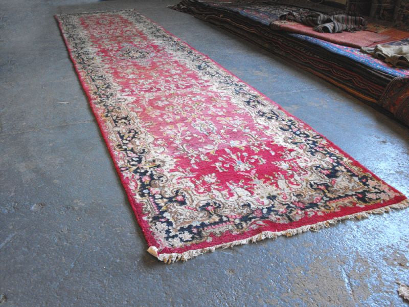 A Very Pretty Semi Old Kirman Runner 402cm x 88cm