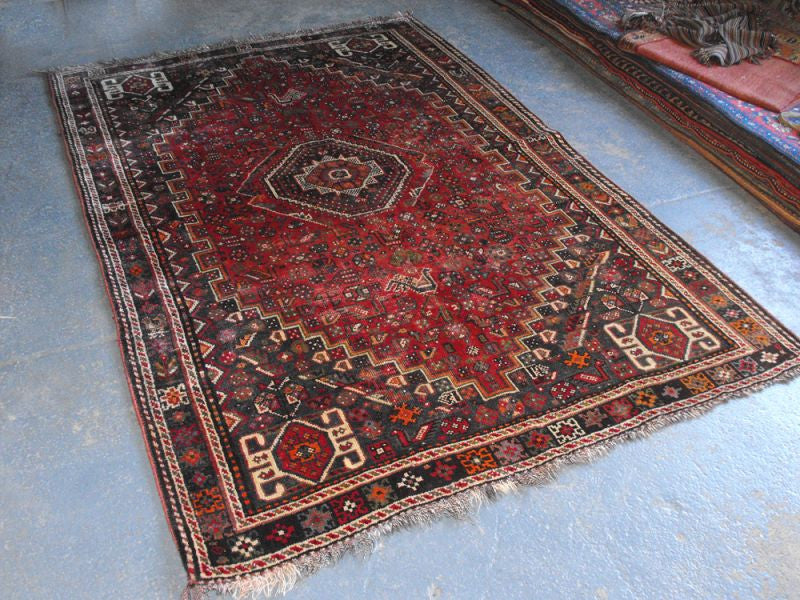 A Wonderfully Busy Semi Old Persian Shiraz Rug 245cm x 170cm