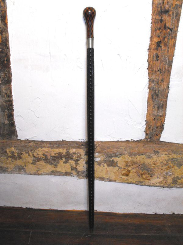 A Fine Novelty Victorian Walking Stick with Parquetry Balloon Handle