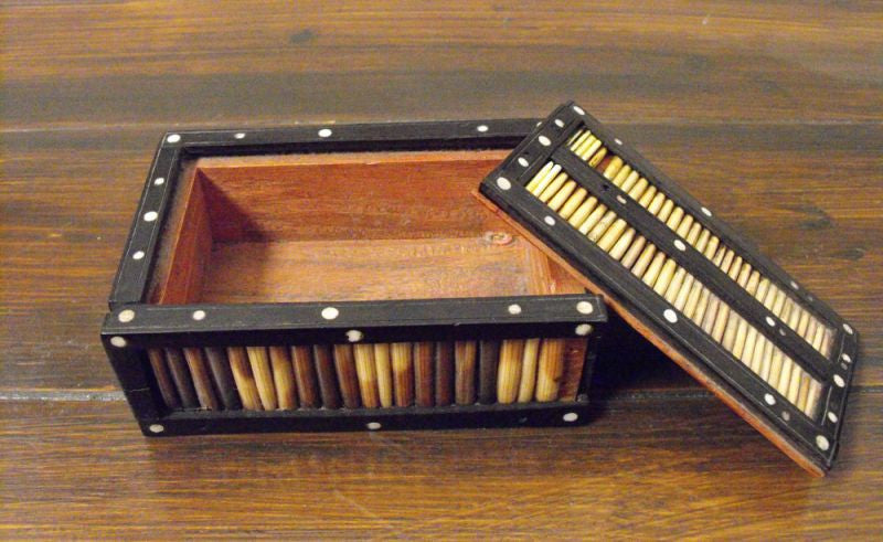 A Late 19thC Ebony & Bone Inlaid Quillwork Box