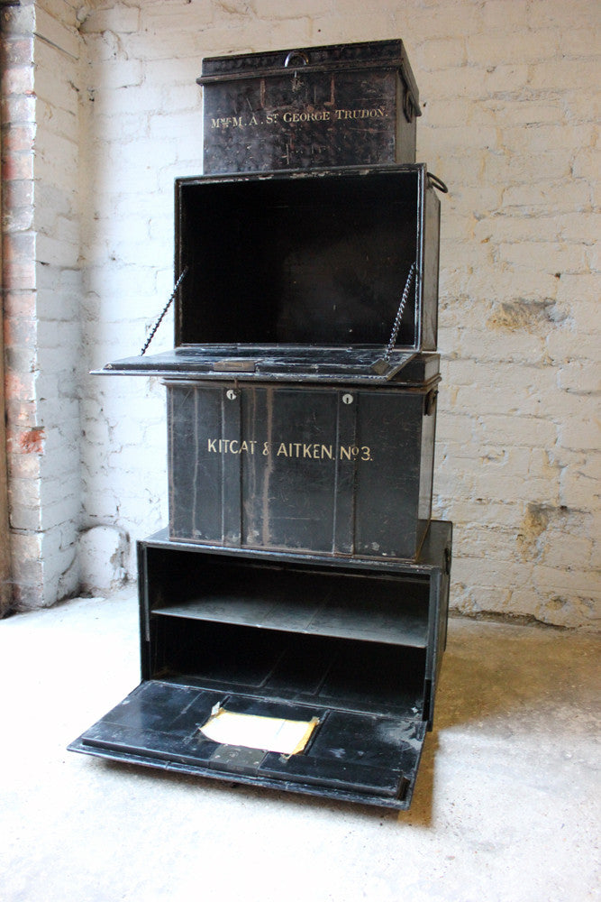 A Graduated Group of Four c.1890 Black Painted Steel Deed Boxes