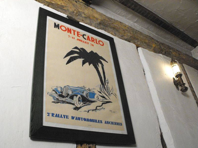 An Original Vintage Poster designed by Geo Ham for the 1976 2nd Rallye d'Automobiles Anciennes de Monte Carlo