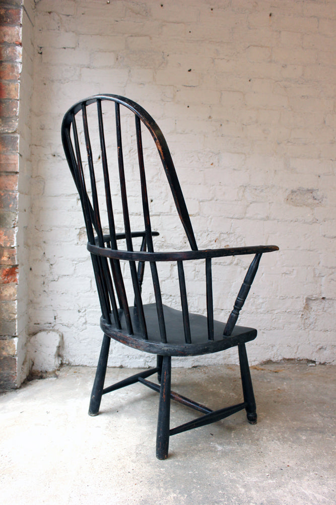 A Fine Black Painted Cornish Stick-Back Windsor Armchair c.1810