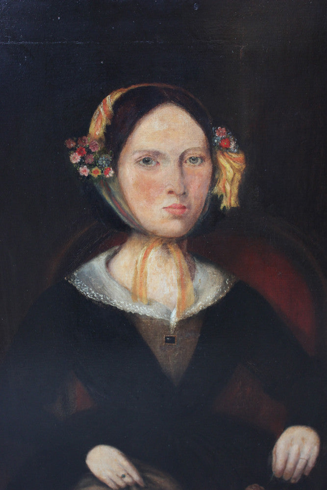 A Fine & Large c.1840 Naïve School Portrait of a Lady