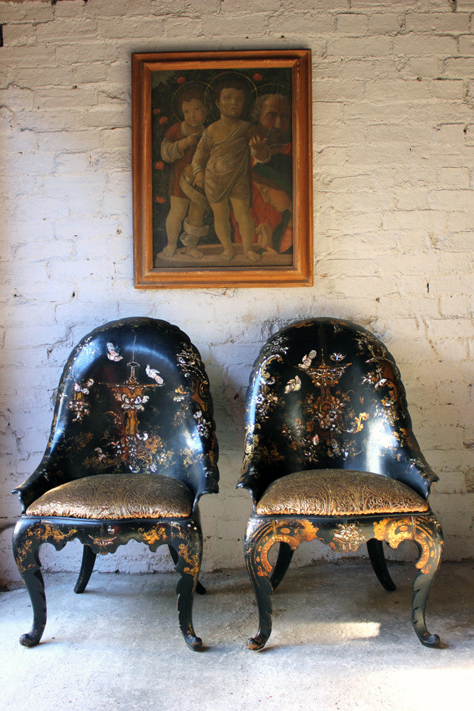 A Fine Pair of Early Victorian Japanned Papier-Mâché Side Chairs c.1844