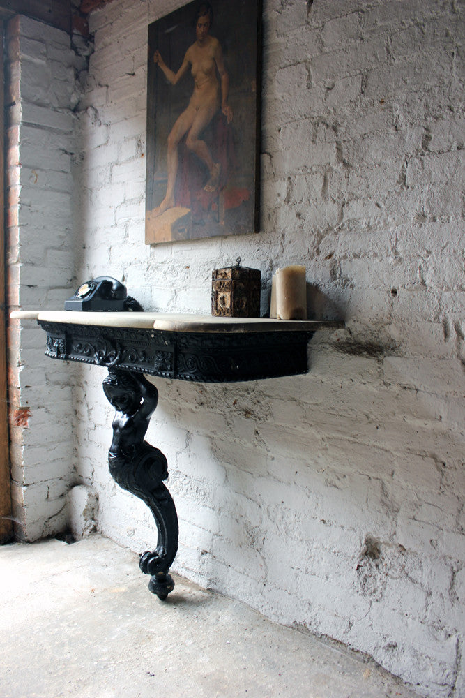 A Wonderful c.1850 Italian Rococo Revival Ebonised Figural & Marble Topped Console Table