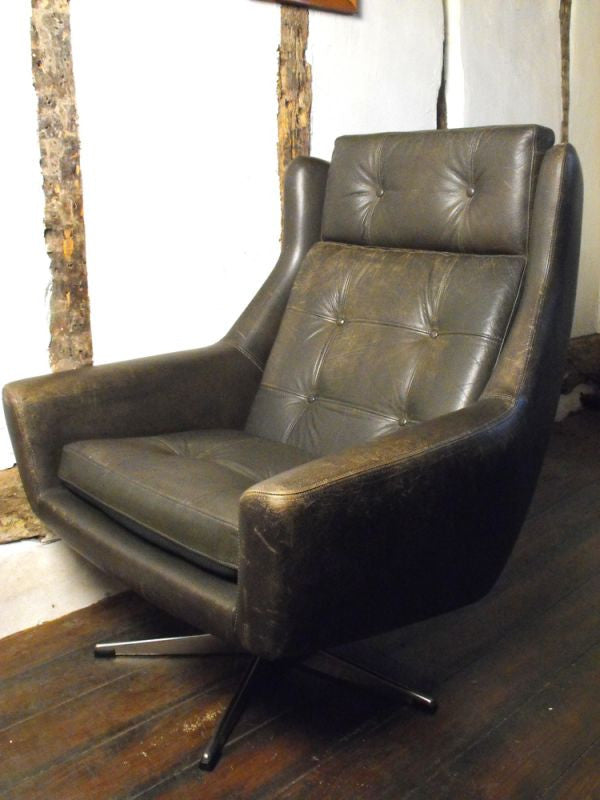 A Stylish Vintage Danish Leather Swivel Bucket Chair
