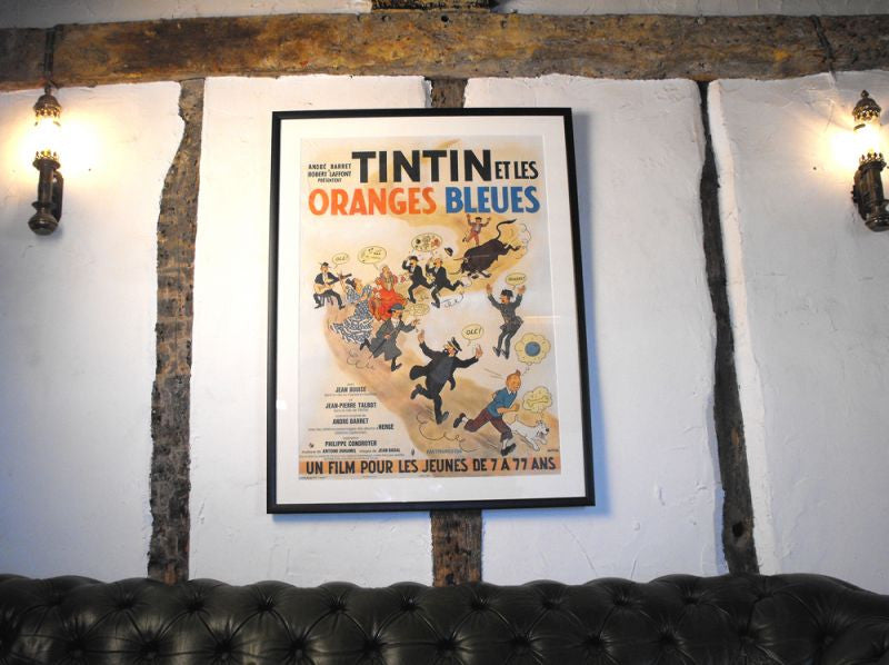 A Scarce Framed Original 1960s French Linen-Backed Vintage Cinema Poster for 'Tintin Et Les Oranges Bleues'
