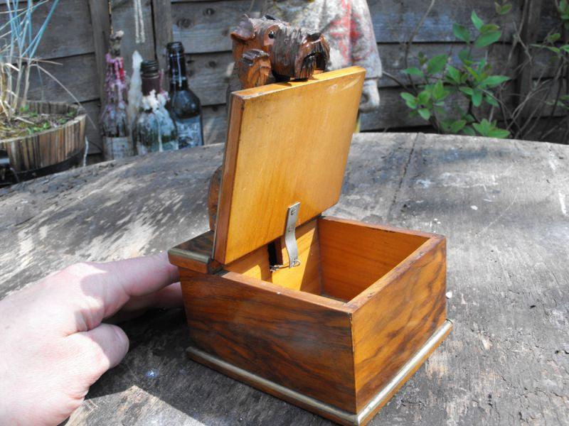 An Unusual & Whimsical Art Deco Walnut Box Surmounted by an Articulated Terrier