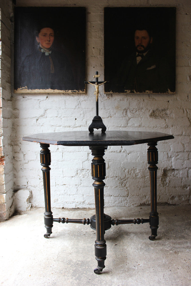 A Victorian Aesthetic Movement Ebonised & Parcel Gilt Octagonal Centre Table