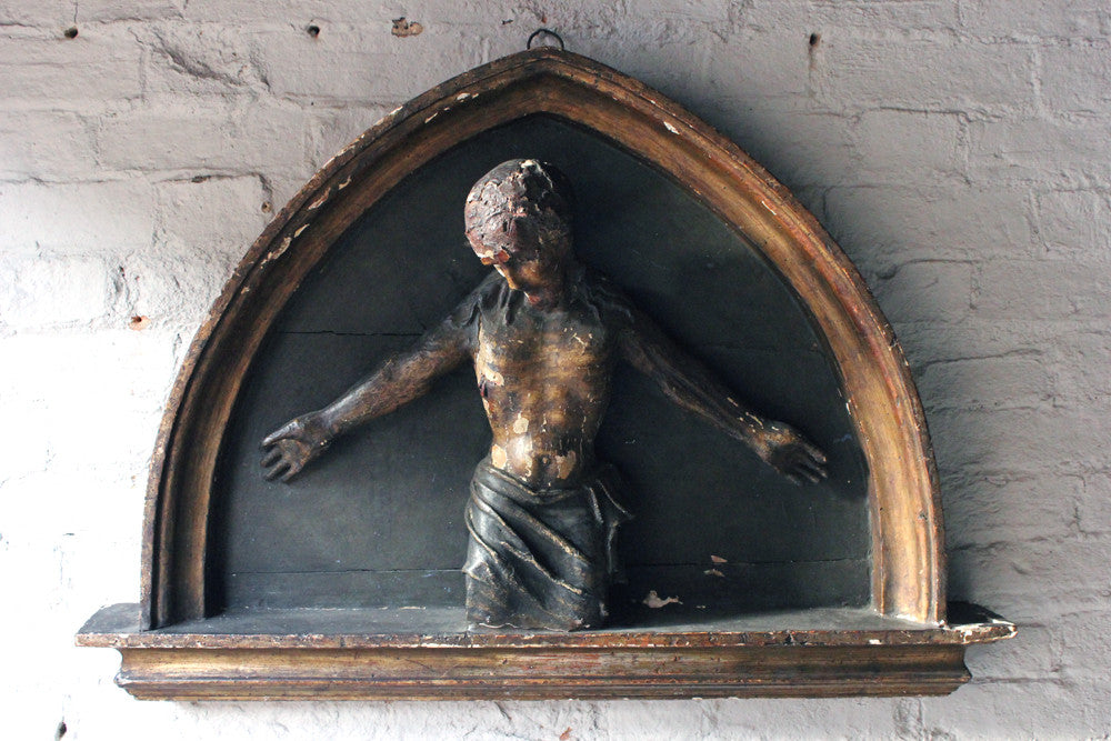 A Wonderful Late Gothic Period Italian Gesso & Softwood Carved 'Ecce Homo' Figure of Christ c.1500