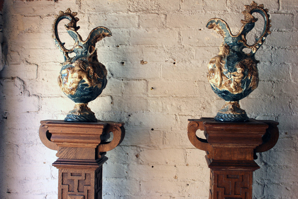 A Large Pair of c.1885 Majolica Ewers by William Schiller & Sons
