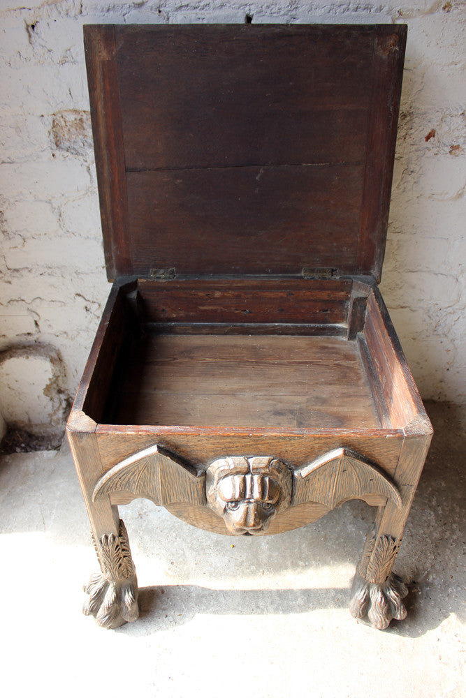A Most Unusual 18thC & Later Gothic Oak Stool