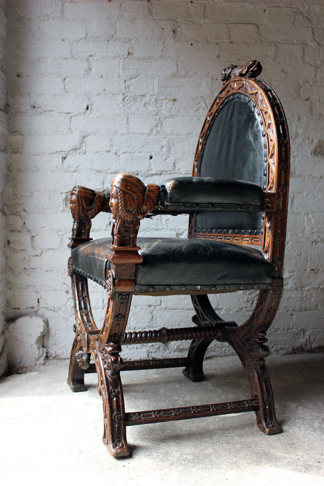 An Exceptional Gothic Revival Oak & Leather Armchair in the Manner of A. W. N. Pugin c.1860