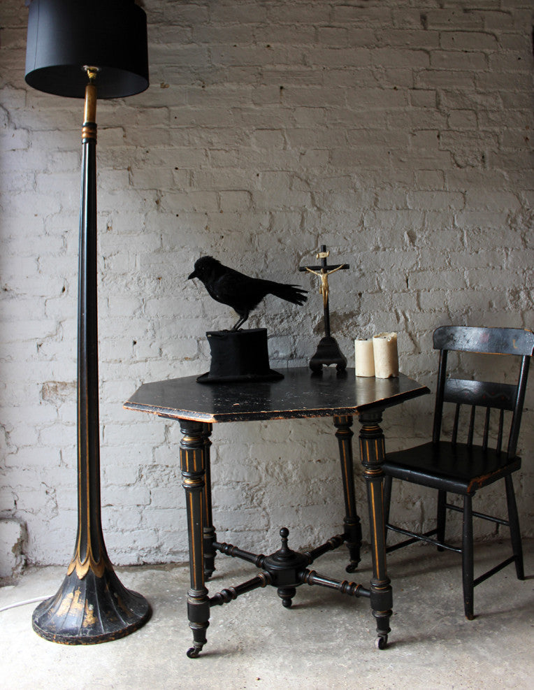 A Good c.1900 Black Japanned Chinoiserie Floor Lamp, From the Deanery, Durham