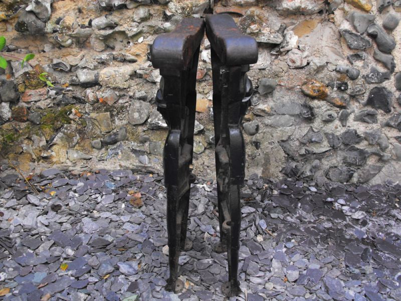 A Very Rare Pair of Victorian Cinema Cast Iron Figural Bench Ends