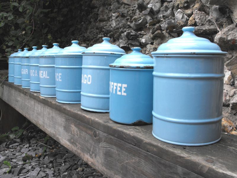 A Good Set of Nine Vintage Enamel Kitchen Storage Canisters