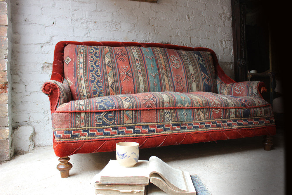 A Good c.1940 Two Seater Kelim Upholstered Sofa